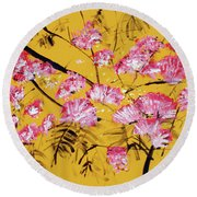Pink Mimosa Tree Dark Yellow 201642 Round Beach Towel