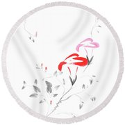 Pink Morning Glory Flowers Sumi-e Illustration Artistic Design O Round Beach Towel