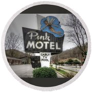 Pink Motel Sign Maggie Valley North Carolina Round Beach Towel