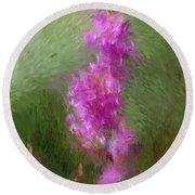 Pink Nature Abstract Round Beach Towel