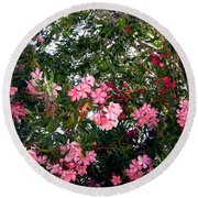 Pink Oleanders Round Beach Towel