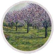 Pink Orchards Garden Round Beach Towel