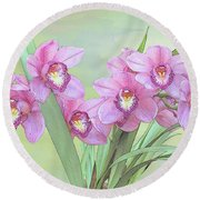 Pink Orchid Photo Sketch Round Beach Towel