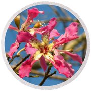 Pink Orchid Tree Round Beach Towel