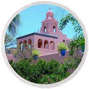 Pink Palace Honolulu Round Beach Towel