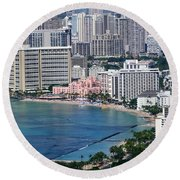 Pink Palace Waikiki Honolulu Round Beach Towel