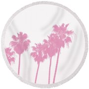 Pink Palm Trees- Art By Linda Woods Round Beach Towel by Linda Woods
