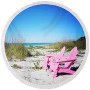 Pink Paradise Vanilla Pop Round Beach Towel