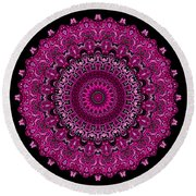 Pink Passion No. 7 Mandala Round Beach Towel