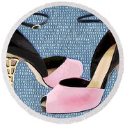 Pink Patent Leather With Sculpted Metal Heels Round Beach Towel