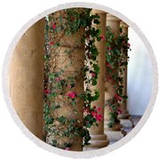 Pink Peacock Colored Bougainvillea Blossoms Climbing Pillars Photograph By Colleen Round Beach Towel