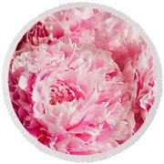 Pink Peony Bouquet Round Beach Towel