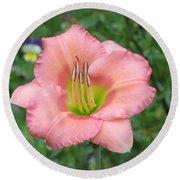 Pink Petals - Chorus Line Daylily Round Beach Towel