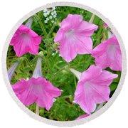 Pink Petunia Flower 9 Round Beach Towel