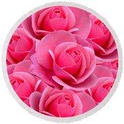 Pink Pink Roses Round Beach Towel