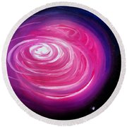 Pink Planet With Diffusing Atmosphere Round Beach Towel