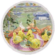 Pink Plate Of Pears Round Beach Towel