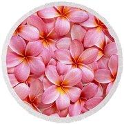 Pink Plumeria Round Beach Towel