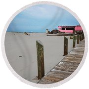 Pink Pony And Boardwalk Round Beach Towel
