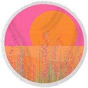 Pink Prairie Flowers Round Beach Towel