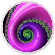 Pink Purple And Green Fractal Spiral Round Beach Towel