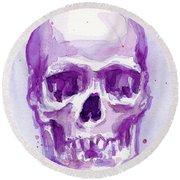 Pink Purple Skull Round Beach Towel