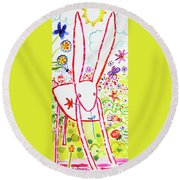 Pink Rabbit Round Beach Towel