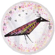 Pink Raven With Heart Round Beach Towel