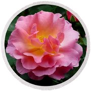 Pink Rose 3 Round Beach Towel