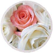 Pink Rose Among White Roses Round Beach Towel