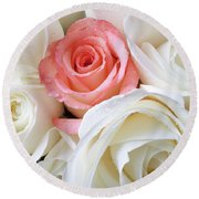 Pink Rose Among White Roses Round Beach Towel