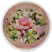 Pink Rose Doily Round Beach Towel