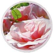 Pink Rose Flower Garden Art Prints Pastel Pink Roses Baslee Troutman Round Beach Towel