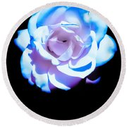 Pink Rose Has The Blues Round Beach Towel