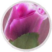 Pink Rose In Light Round Beach Towel
