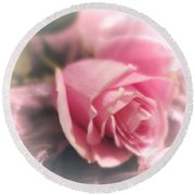 Pink Rose Macro Abstract 1 Round Beach Towel