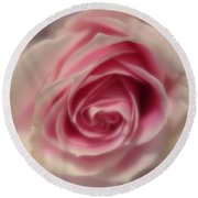 Pink Rose Macro Abstract Round Beach Towel