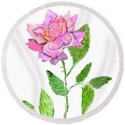 Pink Rose, Painting Round Beach Towel