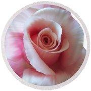 Pink Rose Painting Round Beach Towel