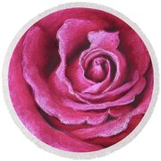 Pink Rose Pastel Painting Round Beach Towel