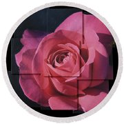 Pink Rose Photo Sculpture Round Beach Towel