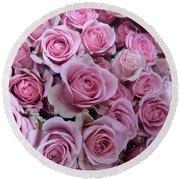 Pink Roses Round Beach Towel