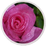 Pink Rose, Rosa Round Beach Towel
