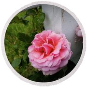 Pink Rose Round Beach Towel by Valeria Donaldson