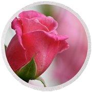 Pink Rosebud 3 Round Beach Towel