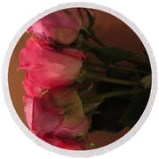 Pink Roses 2 Round Beach Towel