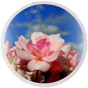 Pink Roses Against The Beautiful Arizona Sky Round Beach Towel