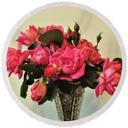 Pink Roses Bouquet 2 Round Beach Towel