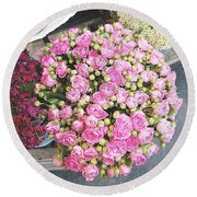 Pink Roses Photograph Round Beach Towel