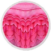 Pink Roses Polar Coordinates Effect 1 Round Beach Towel